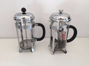 TWO 8 CUP 34 OZ FRENCH PRESS  STAINLESS STEEL COFFEE MAKERS,