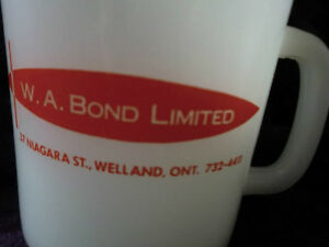 Vintage Glasbake White Coffee Mug Cup W.A. Bond Welland Niagara