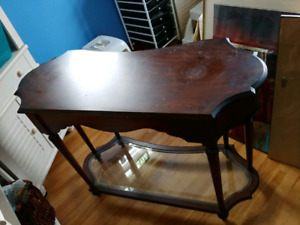 Wooden Table With Glass Insert (Bombay)
