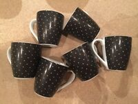 Mugs set of 6 polka dot