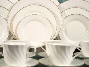 NEW Set for 12 CLASSIC Wedgwood Gold Chelsea Coffee Dinner Set