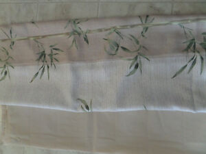 Tropical print shower curtain and liner
