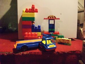 blue truck with blocks for garage