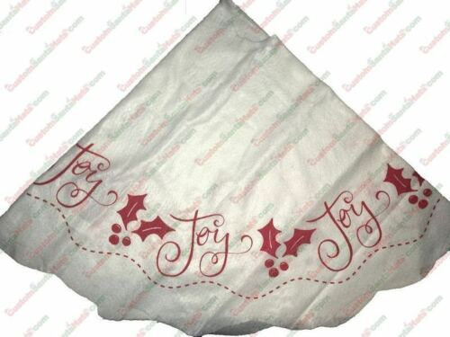 "White Felt Tree Skirt With Red ""Joy"" Winter Trim 38"" *SHIPS FROM USA"