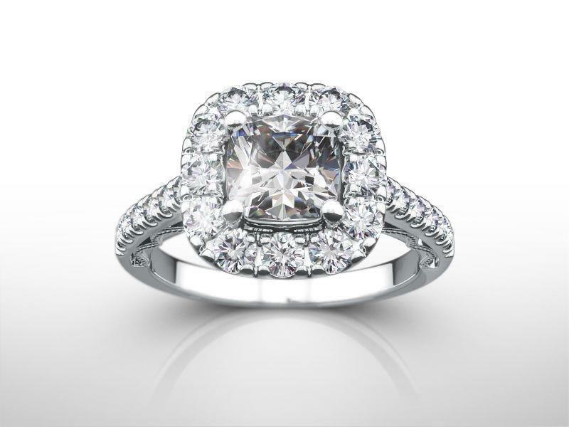 2 Ct Halo Diamond Ring Certified 4 Prong 14 Kt White Gold Vs2 Size 4.5 6 7.5 9