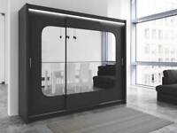 BRAND NEW German Curve 3 Door Sliding Wardrobe with Mirrors +LED Light, Drawers in Black White Color