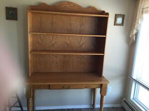 Oak desk/shelving unit