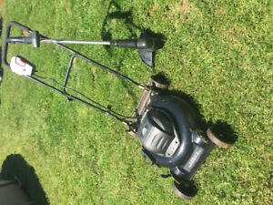 Electric lawn mower and weed wacker combo