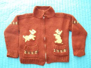 Magnifique veste de laine tricotée à la main (5 ans)