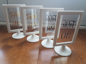 Custom-made Wedding Table Numbers - White Gold (No. 1-30)