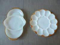 Vintage white serving dishes with gold trim