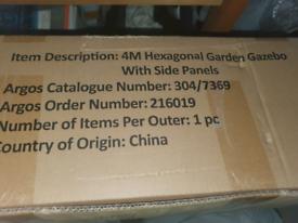 4m Hexagonal Garden Gazebo with Sides.