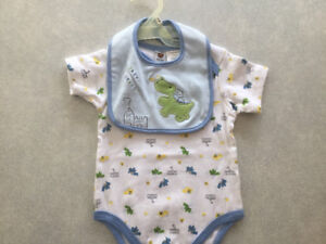 Dragon Onsie with Bib that has a Dragon and Castle Applique