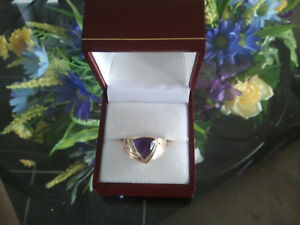 14K Yellow Gold BIRKS Ring with Diamonds and Amethyst (size 7-8)