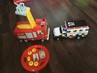 Fire engine and emergency ambulance