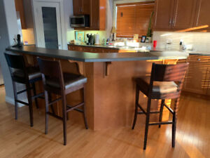 3 Bar Stools with leather seats