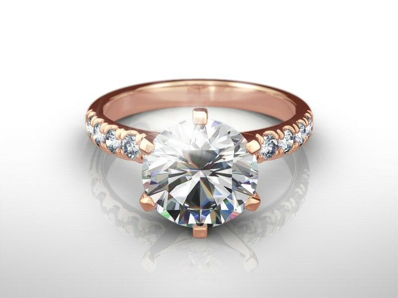 2 Ct Round  E/si2  Diamond  Natural Engagement Ring  Rose Gold Xmas