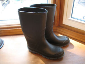 Mens Black & Blue Rubber Boots