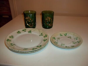 Depression Glass and Irish hand painted plates and saucer