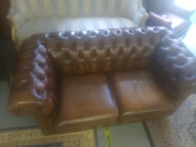 Brown 2 Seater Chesterfield Sofa