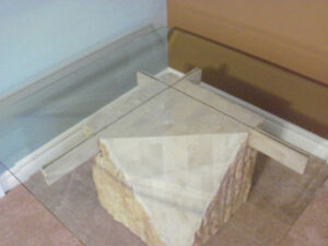 ****BEAUTIFUL MULTI/FACE STONE /BEVELLED GLASS TABLE**** Stratford Kitchener Area image 7