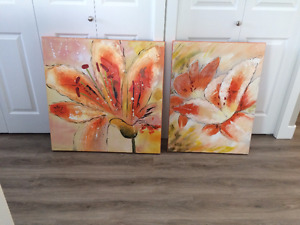 two floral pictures $30 for both