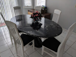 Black Faux Marble Dining Set