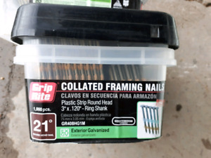 Grip-Rite framing nails, 21°, 3 x .120, coated round head