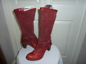Red leather and suade boots