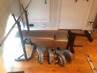 York Weight bench + weights