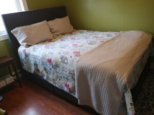 Queen bed frame with mattress and box spring for sale
