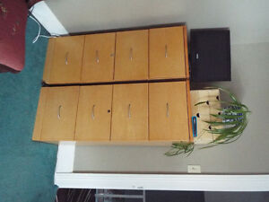 2 Wood 4 drawer file cabinets