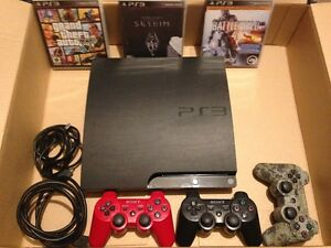 PS3 with 3 controllers and 3 games