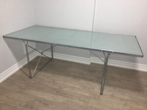 Silver Metal Console Glass Top Table (for use outdoor or indoor)