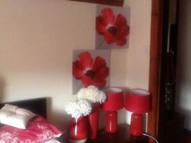 Selection of red bedroom accessories