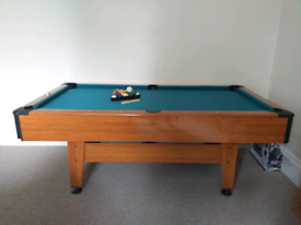 Harvard Pool Table with balls, triangle, chalk, brush