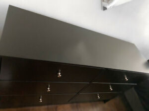 LARGE BLACK-BROWN DRESSER WITH 6 DRAWERS-GREAT CONDITION!