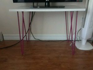 Vintage style white desk with pink hairpin legs