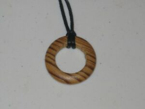 Wood hand carved circle necklace, adjustable necklace.