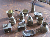 Great Doll House Decor Vintage Set of 12 Brass Mini's-Mini Trays