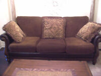 Fancy LARGE Leather and HardwoodSofa in MINT condition I DELIVER