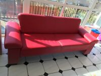 Red faux leather bed settee
