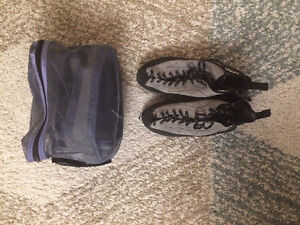Size 8.5 rock climbing shoes, size 8 harness