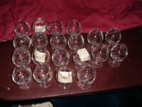 Cognac  Olympic, gold trimmed glasses