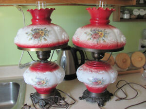 Pair of Antique Hurricane Lamps