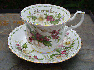 ROYAL ALBERT FLOWER OF THE MONTH DECEMBER CUP & SAUCER