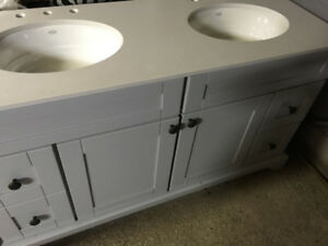 "Lukx Grey 60"" Vanity, countertop and sinks"