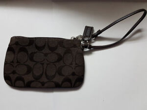 Coach - Small Canvas/Leather Wristlet Coin Purse