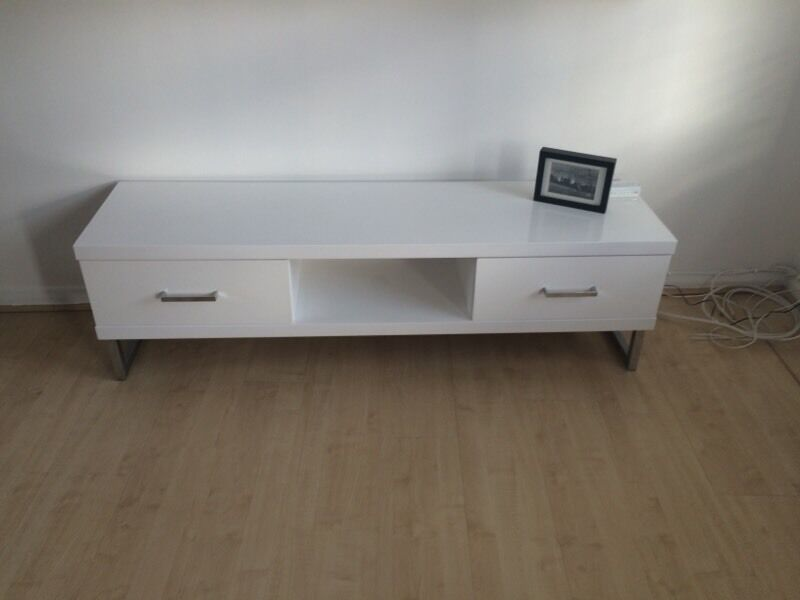 homebase tv cabinet unit and drawers high gloss white in. Black Bedroom Furniture Sets. Home Design Ideas