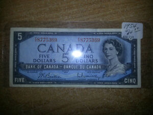 1954 5$ BILLS IN GREAT CONDITION FOR BIENG OVER 61 YEARS OLD!!! London Ontario image 1